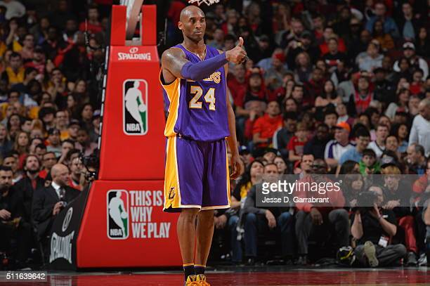 Kobe Bryant of the Los Angeles Lakers gives the thumbs up against the Chicago Bulls on February 21 2016 at the United Center in Chicago Illinois NOTE...