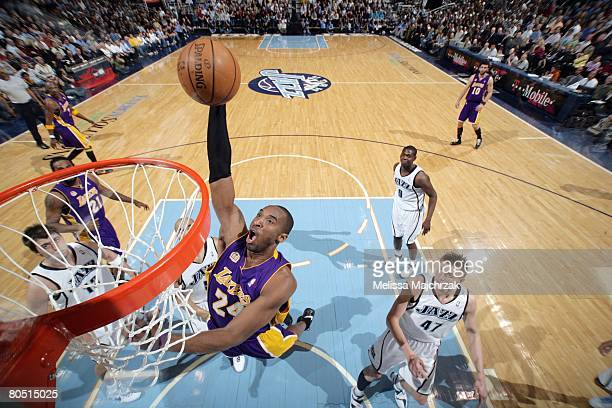 Kobe Bryant of the Los Angeles Lakers goes for a dunk against the Utah Jazz during the game at EnergySolutions Arena on March 20 2008 in Salt Lake...