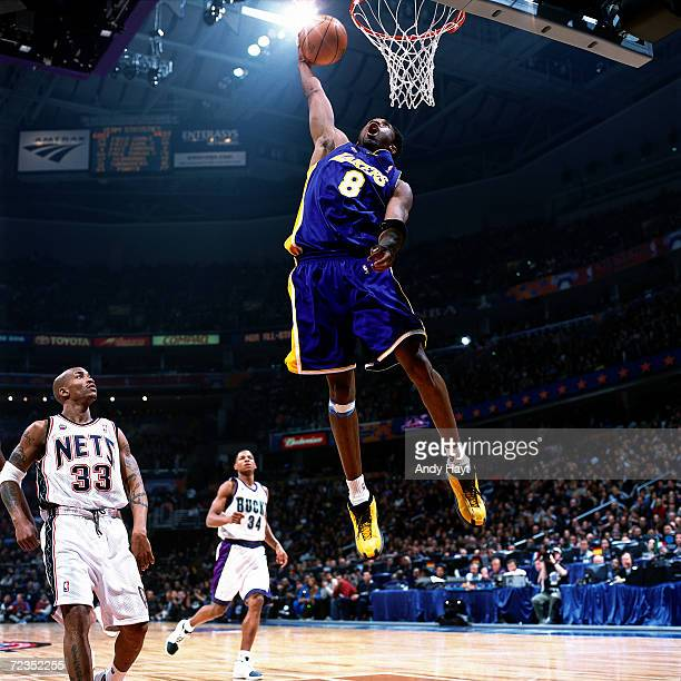 Kobe Bryant of the Los Angeles Lakers goes for a dunk during the 2001 NBA All Star Game at the MCI Center in Washington DC NOTE TO USER User...