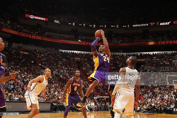 Kobe Bryant of the Los Angeles Lakers goes for a jump shot during a game between the Los Angeles Lakers and the Miami Heat on February 10 2013 at...