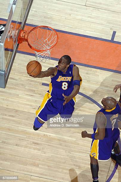 Kobe Bryant of the Los Angeles Lakers goes for a layup against the Phoenix Suns in game five of the Western Conference Quarterfinals during the 2006...