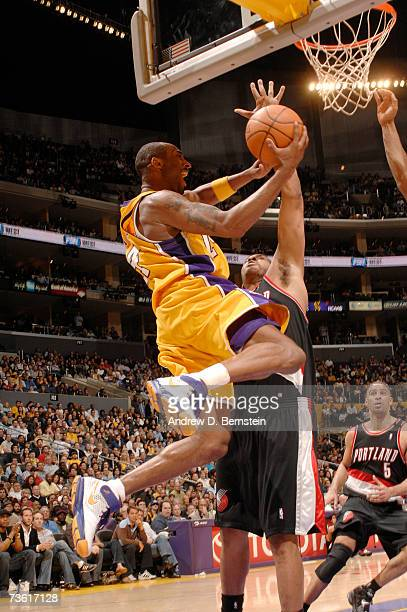 Kobe Bryant of the Los Angeles Lakers goes strong to the hoop against the Portland Trail Blazers on March 16 2007 at Staples Center in Los Angeles...