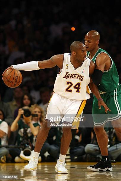 Kobe Bryant of the Los Angeles Lakers goes up against Ray Allen of the Boston Celtics in Game Five of the 2008 NBA Finals on June 15 2008 at Staples...