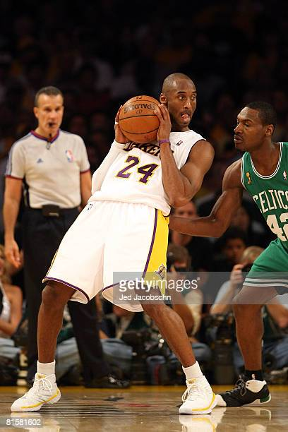 Kobe Bryant of the Los Angeles Lakers goes up against Tony Allen of the Boston Celtics in Game Five of the 2008 NBA Finals on June 15 2008 at Staples...
