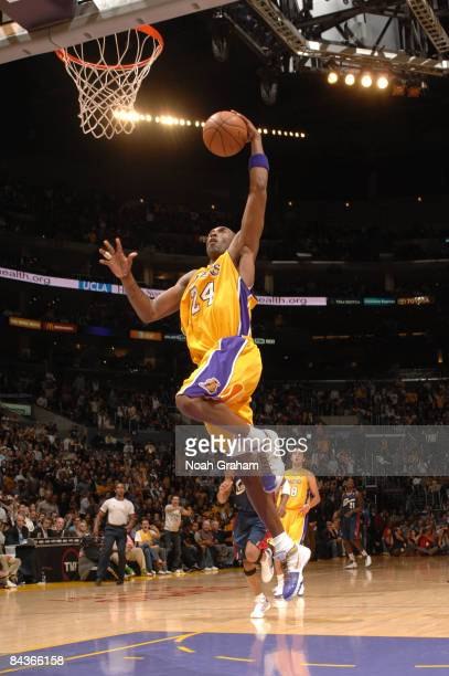 Kobe Bryant of the Los Angeles Lakers goes up for a breakaway dunk during a game against the Cleveland Cavaliers at Staples Center on January 19 2009...