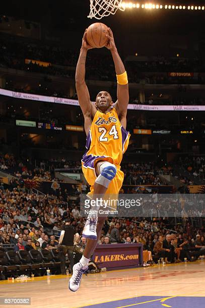 Kobe Bryant of the Los Angeles Lakers goes up for a breakaway dunk during the game against the Detroit Pistons at Staples Center on November 14 2008...