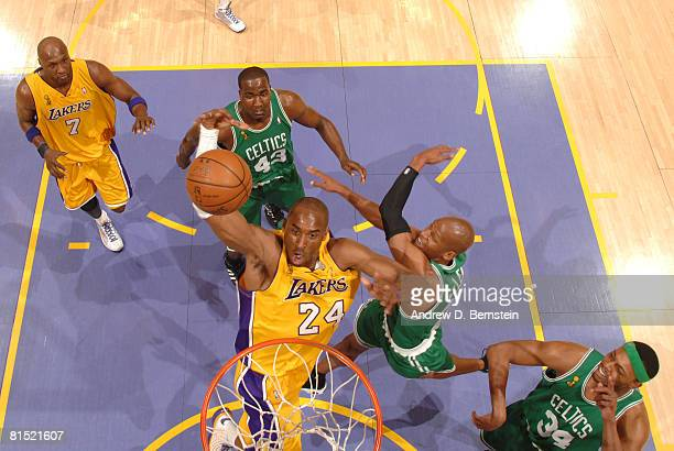 Kobe Bryant of the Los Angeles Lakers goes up for a dunk against Ray Allen of the Boston Celtics in Game Three of the 2008 NBA Finals at Staples...