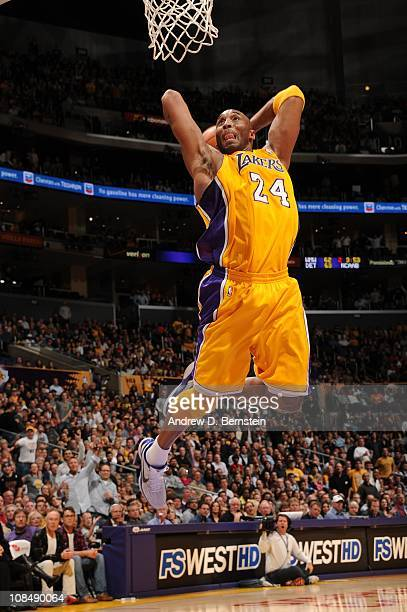 Kobe Bryant of the Los Angeles Lakers goes up for a dunk against the Sacramento Kings at Staples Center on January 28, 2011 in Los Angeles,...
