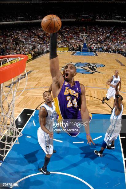 Kobe Bryant of the Los Angeles Lakers goes up for a dunk against the Orlando Magic at Amway Arena on February 8 2008 in Orlando Florida NOTE TO USER...
