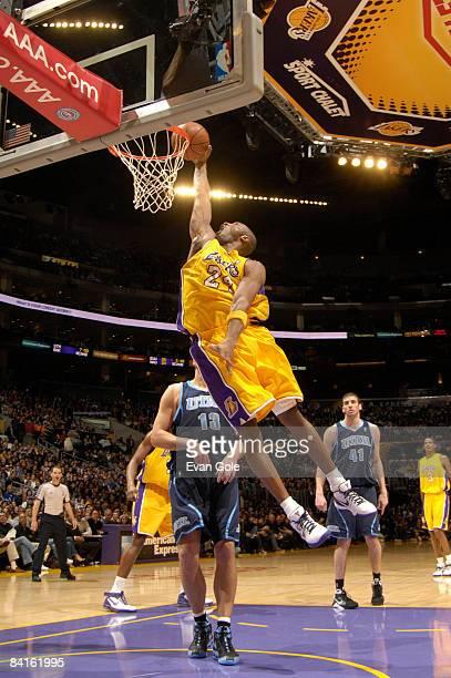 Kobe Bryant of the Los Angeles Lakers goes up for a dunk against the Utah Jazz at Staples Center on January 2 2009 in Los Angeles California NOTE TO...