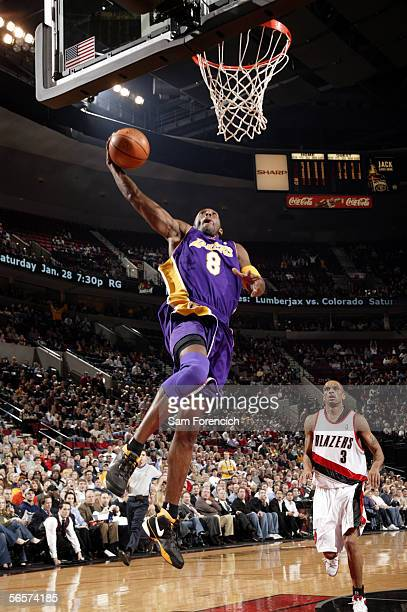 Kobe Bryant of the Los Angeles Lakers goes up for a dunk during a game against the Portland Trail Blazers on January 11 2006 at the Rose Garden Arena...