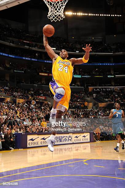 Kobe Bryant of the Los Angeles Lakers goes up for a dunk during a game against the Minnesota Timberwolves at Staples Center on December 11 2009 in...