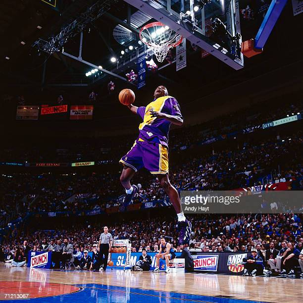 Kobe Bryant of the Los Angeles Lakers goes up for a dunk during the Slam Dunk Compitition during the 1997 NBA AllStar week on February 8 1997 at Gund...