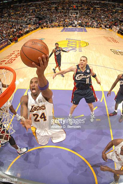 Kobe Bryant of the Los Angeles Lakers goes up for a layup against the Cleveland Cavaliers at Staples Center on December 25, 2009 in Los Angeles,...