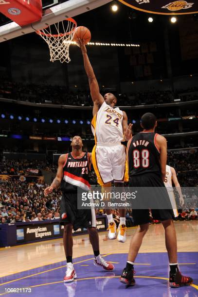Kobe Bryant of the Los Angeles Lakers goes up for a shot against the Portland Trail Blazers at Staples Center on November 7 2010 in Los Angeles...