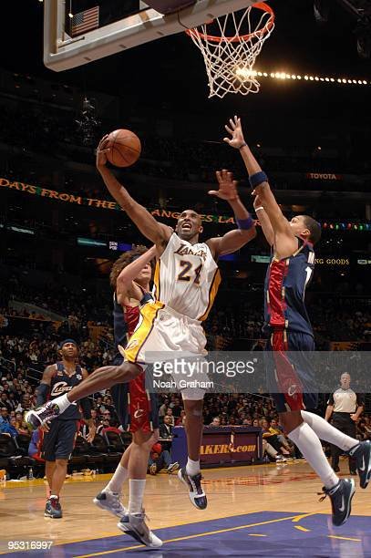 Kobe Bryant of the Los Angeles Lakers goes up for a shot during a game against the Cleveland Cavaliers at Staples Center on December 25 2009 in Los...