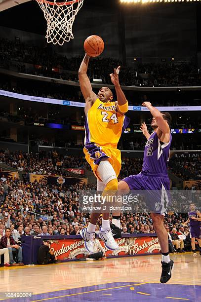 Kobe Bryant of the Los Angeles Lakers goes up for a shot that would put him past Hakeem Olajuwon for eighth on the NBA's all time leading scorer's...