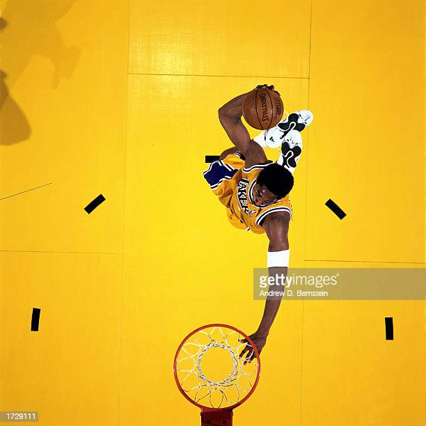 Kobe Bryant of the Los Angeles Lakers goes up for a slam dunk during a game at the Staples Center in Los Angeles California NOTE TO USER User...