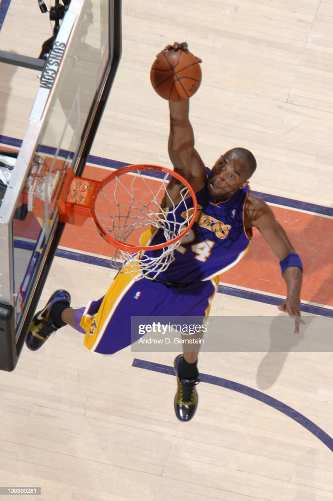 Kobe Bryant #24 of the Los Angeles Lakers goes up for the dunk against the Phoenix Suns in Game Three of the Western Conference Finals during the 2010 NBA Playoffs at US Airways Center on May 23, 2010 in Phoenix, Arizona.
