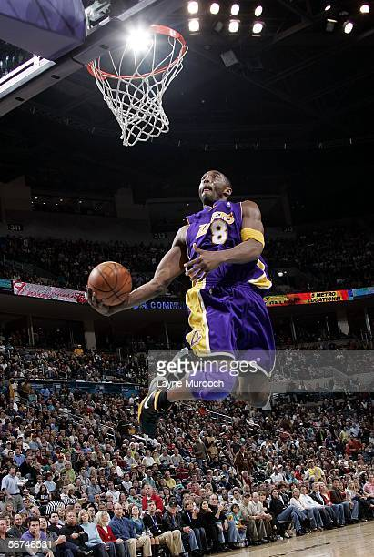 Kobe Bryant of the Los Angeles Lakers goes up for the dunk against the New Orleans/Oklahoma City Hornets during a game on February 4, 2006 at the...