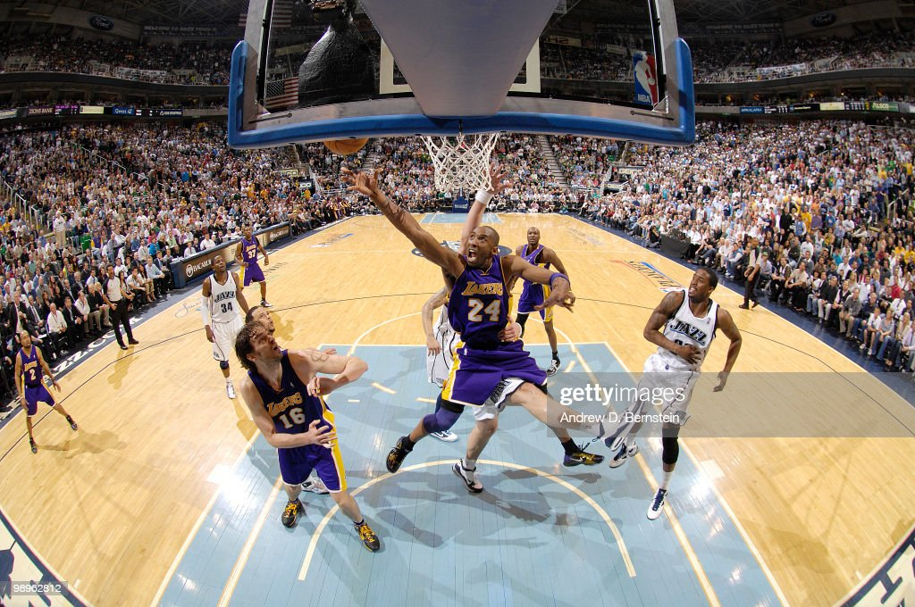 Kobe Bryant of the Los Angeles Lakers goes up for the shot against the Utah Jazz in Game Four of the Western Conference Semifinals during the 2010 NBA Playoffs at the EnergySolutions Arena on May 10, 2010 in Salt Lake City, Utah.