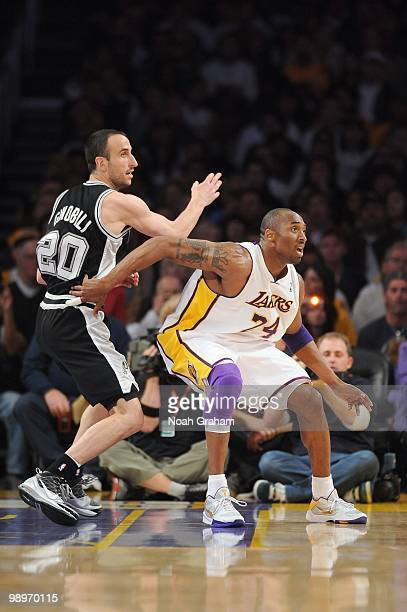 Kobe Bryant of the Los Angeles Lakers guards against Manu Ginobili of the San Antonio Spurs at Staples Center on April 4 2010 in Los Angeles...