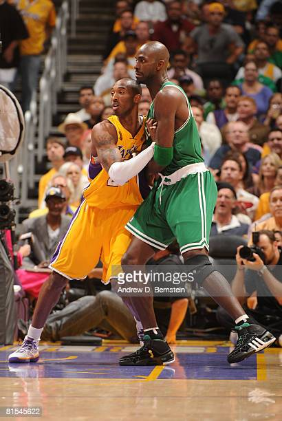 Kobe Bryant of the Los Angeles Lakers guards Kevin Garnett of the Boston Celtics in Game Four of the 2008 NBA Finals at Staples Center on June 12...