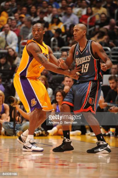 Kobe Bryant of the Los Angeles Lakers guards Raja Bell of the Charlotte Bobcats during their game at Staples Center on January 27 2009 in Los Angeles...