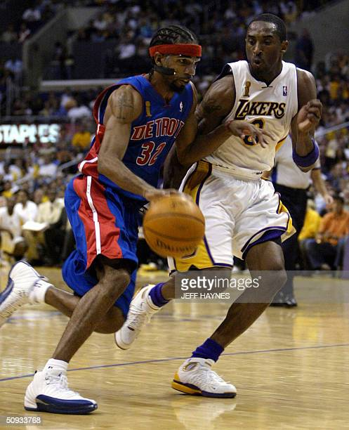 Kobe Bryant of the Los Angeles Lakers guards Richard Hamilton of the Detroit Pistons during the first half of game one of the NBA Finals 06 June 2004...