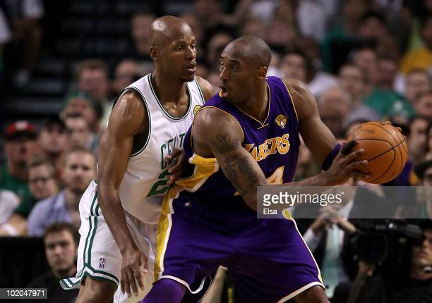 Kobe Bryant of the Los Angeles Lakers handles the ball against Paul Pierce of the Boston Celtics in the second quarter during Game Five of the 2010...
