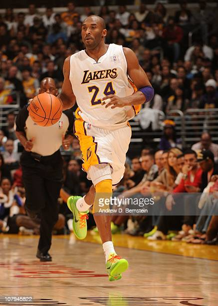 Kobe Bryant of the Los Angeles Lakers handles the ball during a game against the Miami Heat at the Staples Center on December 25 2010 in Los Angeles...