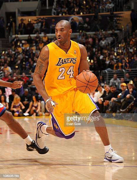 Kobe Bryant of the Los Angeles Lakers handles the ball during a game against the Philadelphia 76ers at the Staples Center on December 31 2010 in Los...