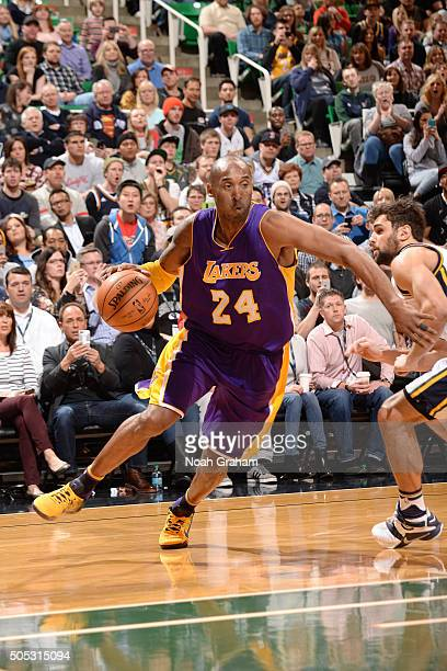 Kobe Bryant of the Los Angeles Lakers handles the ball during the game against the Utah Jazz on January 16, 2016 at EnergySolutions Arena in Salt...