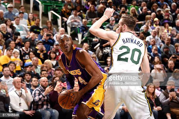 Kobe Bryant of the Los Angeles Lakers handles the ball during the game against the Utah Jazz on March 28 2016 at EnergySolutions Arena in Salt Lake...