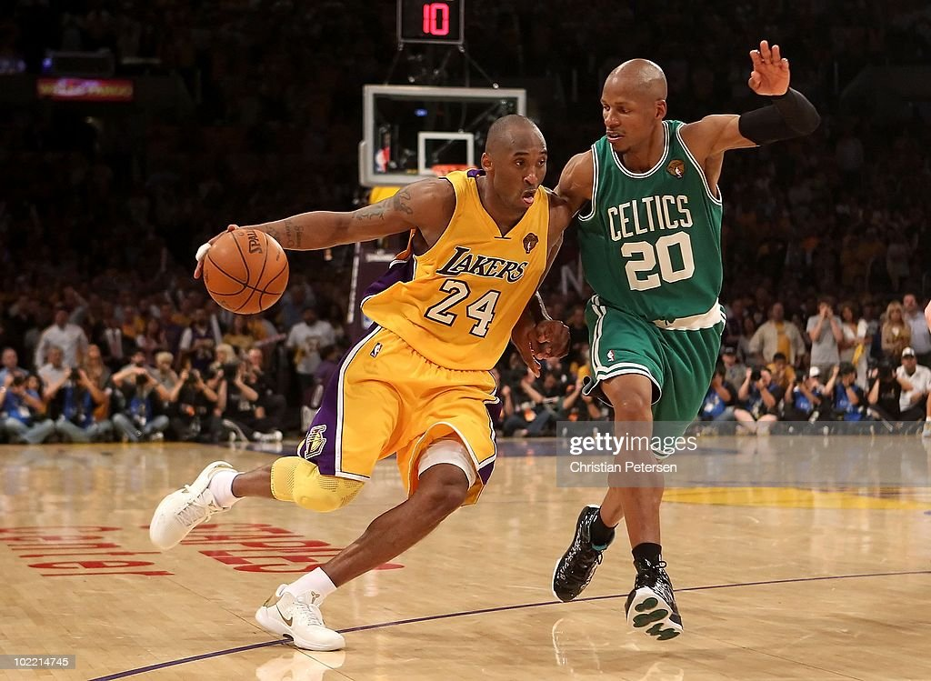 Kobe Bryant #24 of the Los Angeles Lakers handles the ball under pressure from Ray Allen #20 of the Boston Celtics in Game Seven of the 2010 NBA Finals at Staples Center on June 17, 2010 in Los Angeles, California. The Lakers defeated the Celtics 83-79.