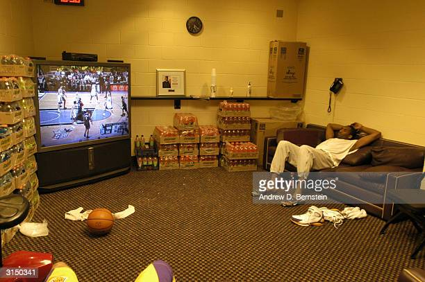 Kobe Bryant of the Los Angeles Lakers hanging out in the locker room before the game versus the Utah Jazz on March 28 2004 at Staples Center in Los...