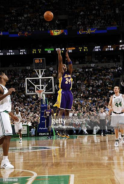 Kobe Bryant of the Los Angeles Lakers hits a buzzer beater at the end of the third quarter against the Boston Celtics on January 31 2007 at the TD...