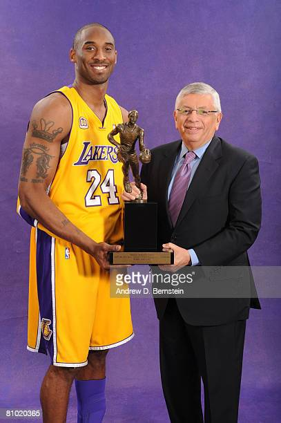 Kobe Bryant of the Los Angeles Lakers holds the 200708 NBA Most Valuable Player award with NBA Commissioner David Stern prior to Game Two of the...