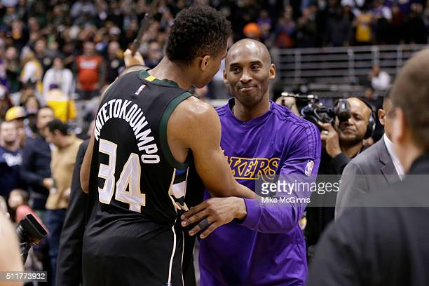 Kobe Bryant of the Los Angeles Lakers hugs Giannis Antetokounmpo of the Milwaukee Bucks after the game against the Milwaukee Bucks at BMO Harris...
