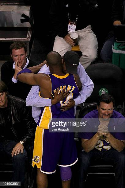 Kobe Bryant of the Los Angeles Lakers hugs his father Joe Bryant before Game Three of the 2010 NBA Finals against the Boston Celtics on June 8 2010...