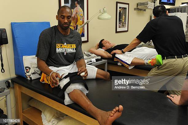 Kobe Bryant of the Los Angeles Lakers ices his knee before taking on the Miami Heat at Staples Center on December 25 2010 in Los Angeles California...