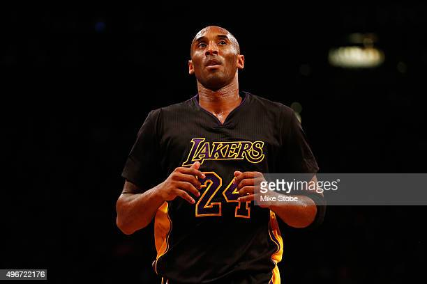 Kobe Bryant of the Los Angeles Lakers in action against the Brooklyn Nets at the Barclays Center on November 6, 2015 in Brooklyn borough of New York...