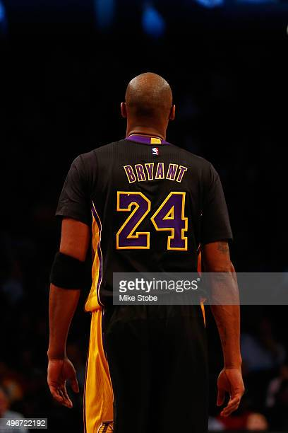 Kobe Bryant of the Los Angeles Lakers in action against the Brooklyn Nets at the Barclays Center on November 6 2015 in Brooklyn borough of New York...