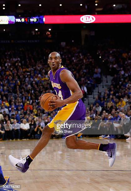 Kobe Bryant of the Los Angeles Lakers in action against the Golden State Warriors at ORACLE Arena on January 14 2016 in Oakland California NOTE TO...