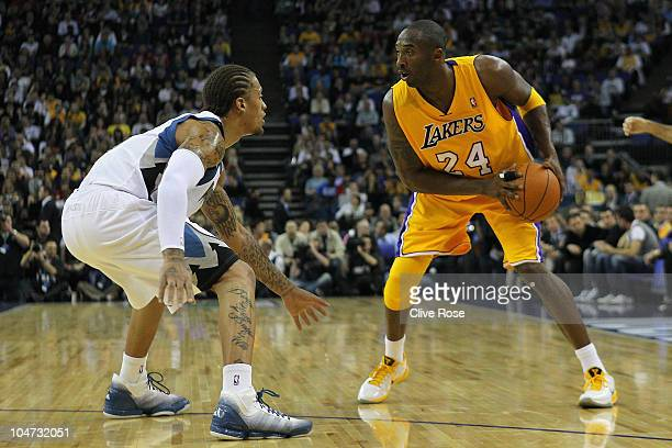 Kobe Bryant of the Los Angeles Lakers in action during the NBA Europe Live match between the Los Angeles Lakers and the Minnesota Timberwolves at the...