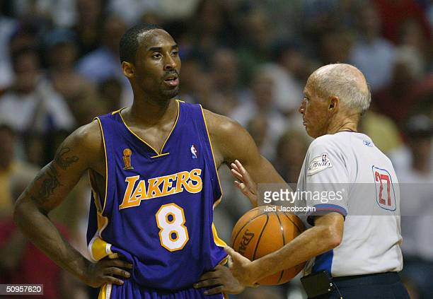 Kobe Bryant of the Los Angeles Lakers is called for a technical foul by referee Dick Bavetta in the fourth quarter of game four of the 2004 NBA...