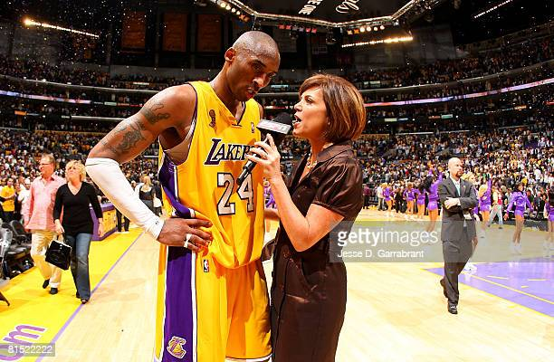 Kobe Bryant of the Los Angeles Lakers is interviewed by ESPN's Michelle Tafoya after the Lakers won 8781 win against the Boston Celtics in Game Three...