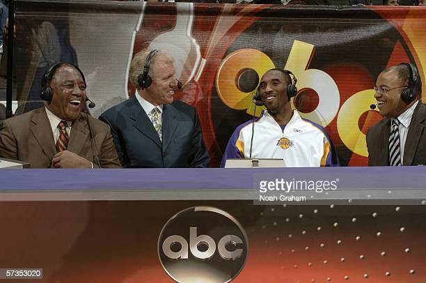 Kobe Bryant of the Los Angeles Lakers is interviewed by Mike Tirico Bill Walton and Steve Jones before the game against the Houston Rockets on April...