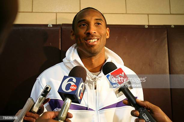 Kobe Bryant of the Los Angeles Lakers is interviewed while visiting his alma mater Lower Merion High School March 9 2007 in Philadelphia Pennsylvania...