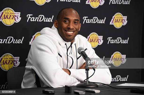 Kobe Bryant of the Los Angeles Lakers is seen at the post game press conference afer playing against the Oklahoma City Thunder on April 11 2016 at...